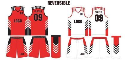 basketbalshirt en korte broek voor- en achterkant omkeerbaar vector