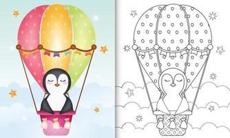 kleurboek voor kinderen met een schattige pinguïn op heteluchtballon vector