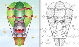 kleurboek voor kinderen met een schattige nijlpaard op heteluchtballon vector