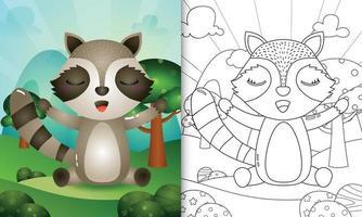 kleurboek voor kinderen met een schattige wasbeer karakter illustratie vector