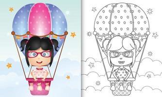 kleurboek voor kinderen met een schattig meisje op heteluchtballon vector