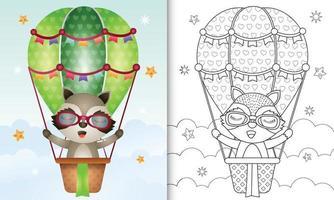 kleurboek voor kinderen met een schattige wasbeer op heteluchtballon vector