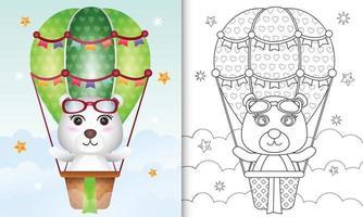 kleurboek voor kinderen met een schattige ijsbeer op een luchtballon vector