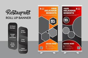 voedsel roll-up banner voor restaurant set vector