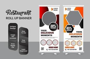 fastfood restaurant roll-up banner sjabloon set vector