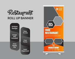 eten en restaurant roll-up banner ontwerpsjabloon vector