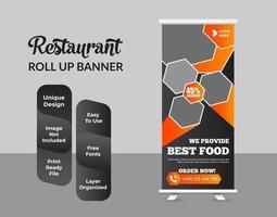 creatieve roll-up bannerbundelsjablonen voor restaurantvoedsel vector