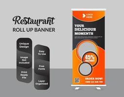 restaurant bedrijf roll-up banner sjabloonontwerp vector