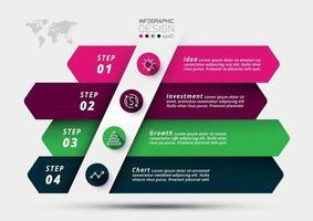 bedrijfsplanning of marketing en analyse van bedrijfsgroei en investeringen op verschillende gebieden met pijlteken. vector