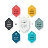 6 stappen voor het uitleggen van het werkproces en het rapporteren van resultaten via het formaat van diagrammen, vectoren, infographics en ontwerp. vector