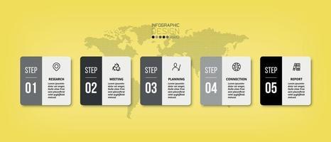 vierkant ontwerp, 5 workflows. kan worden gebruikt om werk te plannen, resultaten te presenteren en bedrijfs- of marketinggerelateerde resultaten te rapporteren. vector