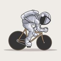 de astronaut van een fiets. premium vector