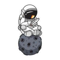 astronaut die telefoon speelt. premium vector