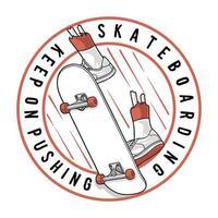 skateboard blijf duwen. premium vector