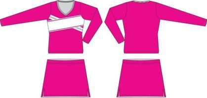 gesublimeerd cheer-uniform met v-hals en lange mouwen vector