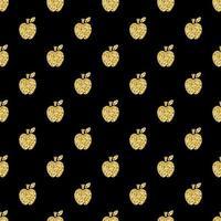 naadloze gouden glitter apple stempel patroon achtergrond