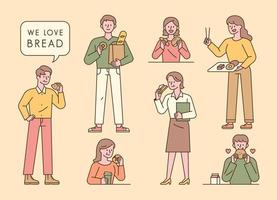 mensen eten brood. een verscheidenheid aan mensen kiest, verpakt en eet brood bij de bakkerij. vector