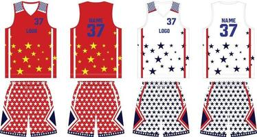 omkeerbaar basketbal uniform jersey en korte broek vector