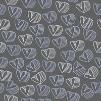 naadloze Valentijnsdag patroon achtergrond met blauwe hand tekenen hartvorm
