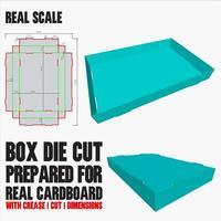 gestanste sjabloon met 3D-voorbeeld georganiseerd met knippen, vouwen, model en afmetingen klaar om te snijden en af te drukken, op volledige schaal en volledig functioneel. voorbereid voor echt karton vector