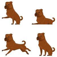 shar pei in verschillende poses. vector