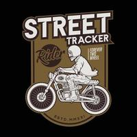 motocycle straattracker op de rit. premium vector
