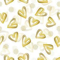 naadloze Valentijnsdag patroon achtergrond met doodle gouden hart