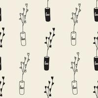 naadloze Valentijnsdag patroon achtergrond met zwart-wit hand tekenen hart boom in een vaas