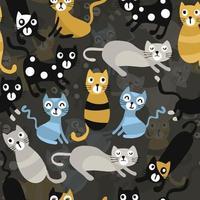 naadloze kinderen patroon achtergrond met hand tekenen veelkleurige kat vector