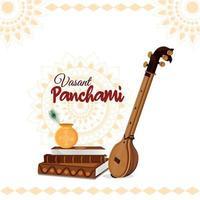 vasant panchami creatieve koptekst met saraswati veena vector