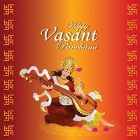 veena voor gelukkige vasant panchami-vieringsachtergrond vector