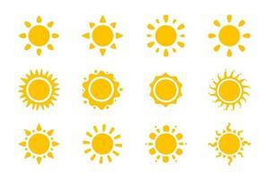 vector cartoon gele zon. schijnende lichtstralen om de zomer te verwarmen. geïsoleerd op een witte achtergrond