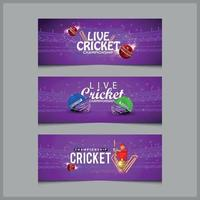 cricketwedstrijd concept banner met cricketspelerhelm en vleermuizen vector