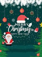 prettige kerstdagen en gelukkig nieuwjaarskaart met kerstman en decoraties