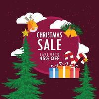 verkoop kerstkaart met geschenken en bomen