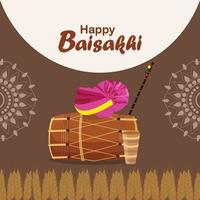 platte ontwerp gelukkige vaisakhi-viering met trommel vector