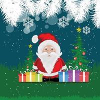 kerstman met cadeautjes, bomen en sneeuwvlokken