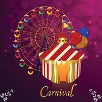 carnaval partij wenskaart op paarse achtergrond vector