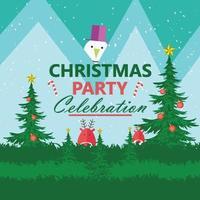 vrolijke kerstfeestkaart met sneeuwpop en rendieren