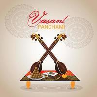 vasant panchami creatieve achtergrond met saraswati veena en boeken vector