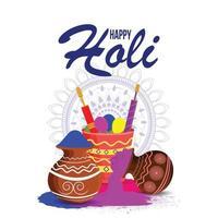 gelukkige holi-achtergrond met kleurenemmer en poederkom vector