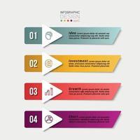 rechthoekig bord, 5 werkstappen voor het plannen van werkzaamheden in een bedrijf of organisatie. vector