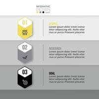 3 stappen van hexagon-ontwerp, informatie presenteren of zakelijke doelen stellen in marketing. vector