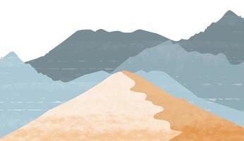 creatieve minimalistische handgeschilderde abstracte kunst achtergrond. natuurlijke landschapsachtergrond met Japanse stijl. bergbos sjabloon met aquarel schilderij vector