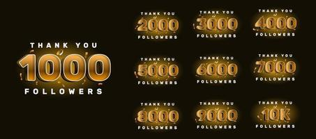 Bedankt volgers felicitatiekaart. aantal abonnees. vectorillustratie voor sociale netwerken