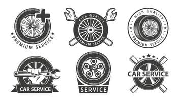 Onderhoudswerkzaamheden. service, reparatie set etiketten of logo's. van hoge kwaliteit. hamer, moersleutel, sluitring, schroevendraaierelementen in logo. monochroom teken.