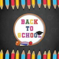 terug naar schoolachtergrond met schoolbenodigdheden vector