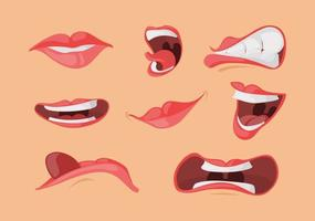 monduitdrukkingen gezichtsgebaren in cartoon-stijl. open gesloten mond, tong, schreeuw. vector