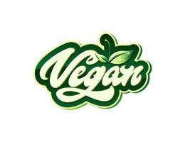 veganistisch in beletteringstijl met bladeren met druppels. vectorelementen voor labels, logo's, insignes, stickers of pictogrammen. vector