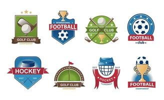 set voetballogo's. golf collectie embleem. hockey etiketten badges. vector illustratie.